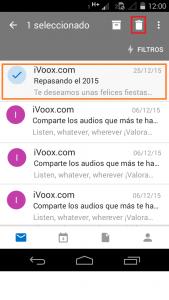 Eliminar mensajes en Outlook para Android