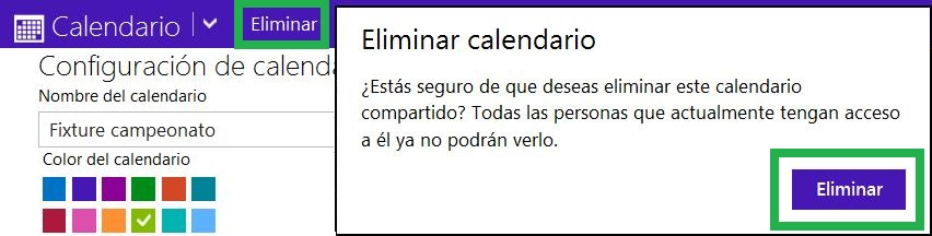Eliminar un calendario de Outlook.com