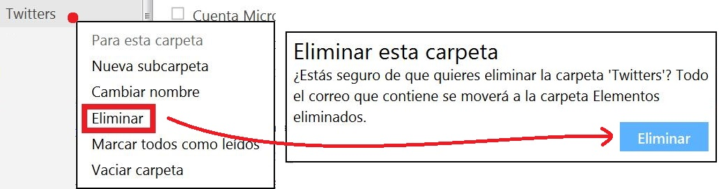 Eliminar una carpeta en Outlook.com