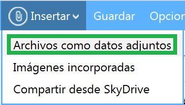 Enviar archivos adjuntos con Outlook.com
