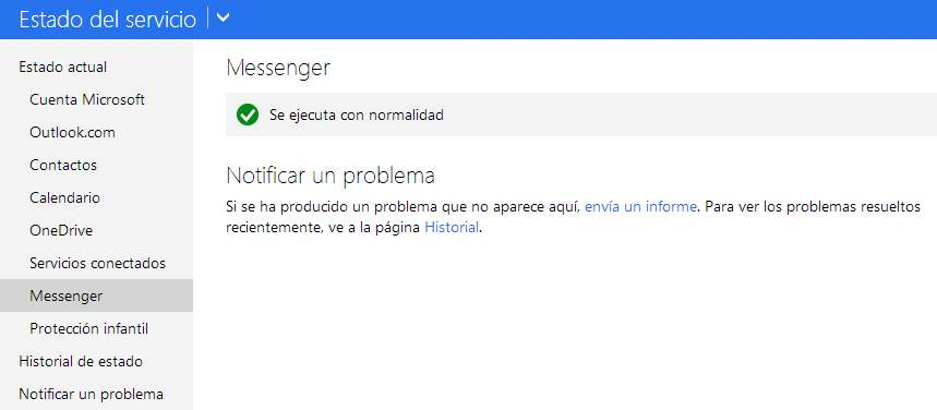 Error de Messenger en Outlook.com