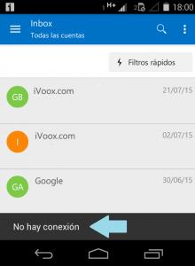 Error sin conexión en Outlook para Android