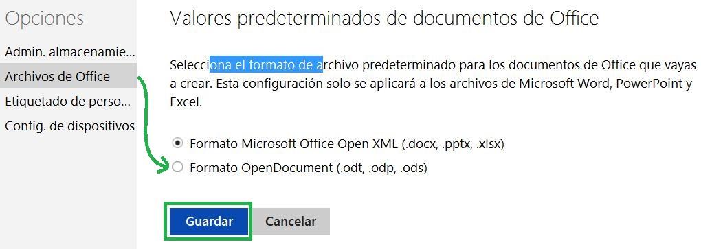 Establecer el formato de los archivos de Office en SkyDrive