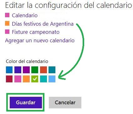 Establecer los colores de los calendarios de Outlook.com