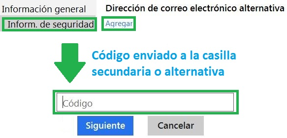 Establecer un correo alternativo para Outlook.com