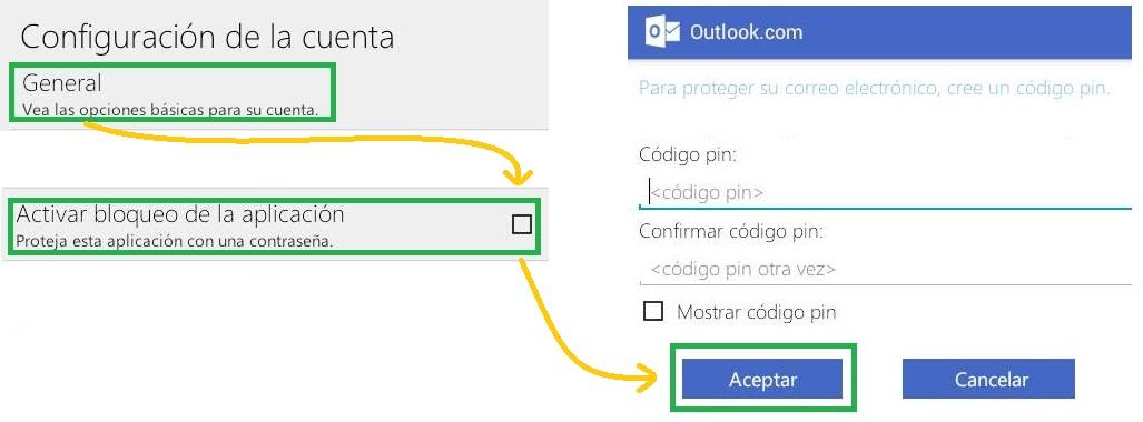 Establecer una clave para Outlook.com para Android