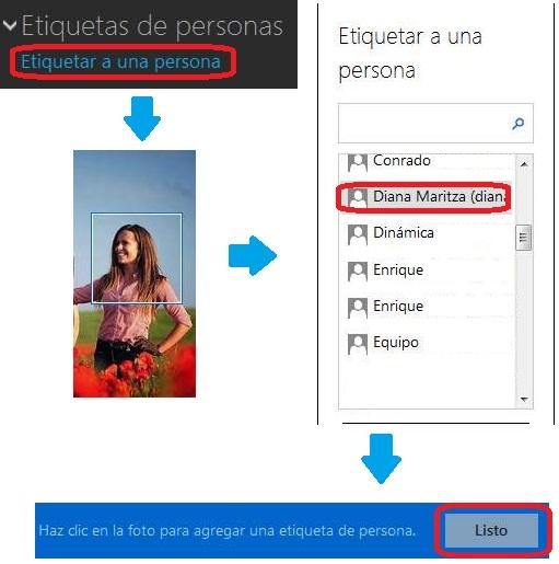Etiquetar amigos en OneDrive