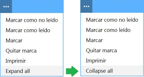 Expand all y collapse all de Outlook.com
