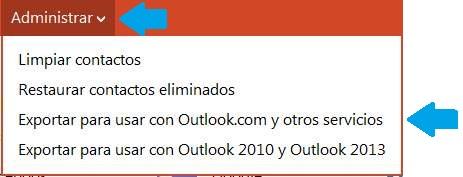 Exportar contactos para usar con otra cuenta de Outlook.com