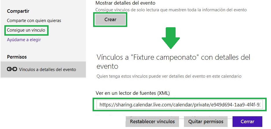 Exportar un calendario en Outlook.com