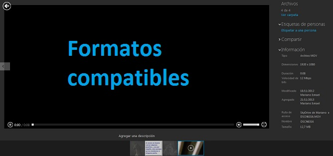 Extensiones de video que podemos utilizar en SkyDrive