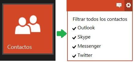 Filtros de contactos en Outlook.com