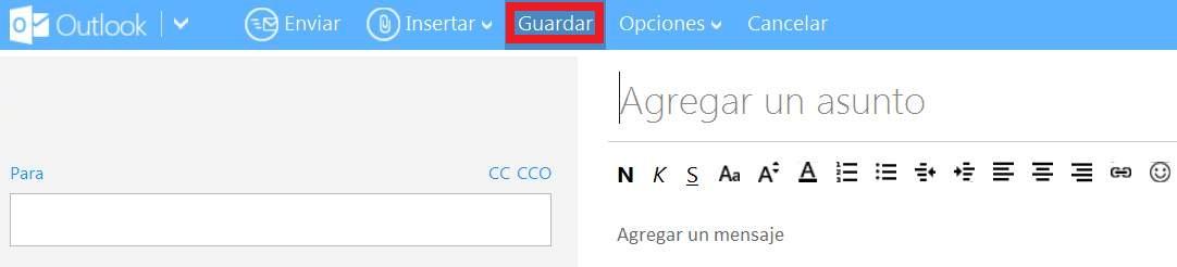 Guardar un correo como borrador en Outlook