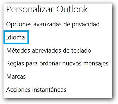 Idioma Outlook