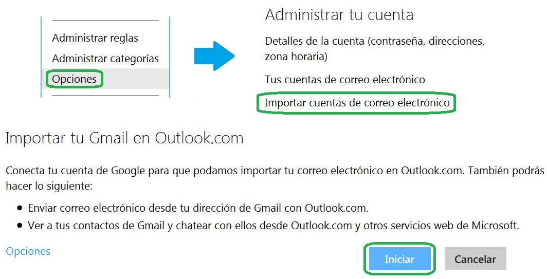Importar casillas de correo de Gmail a Outlook.com