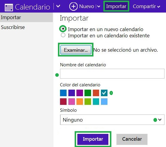 Importar un calendario en Outlook.com