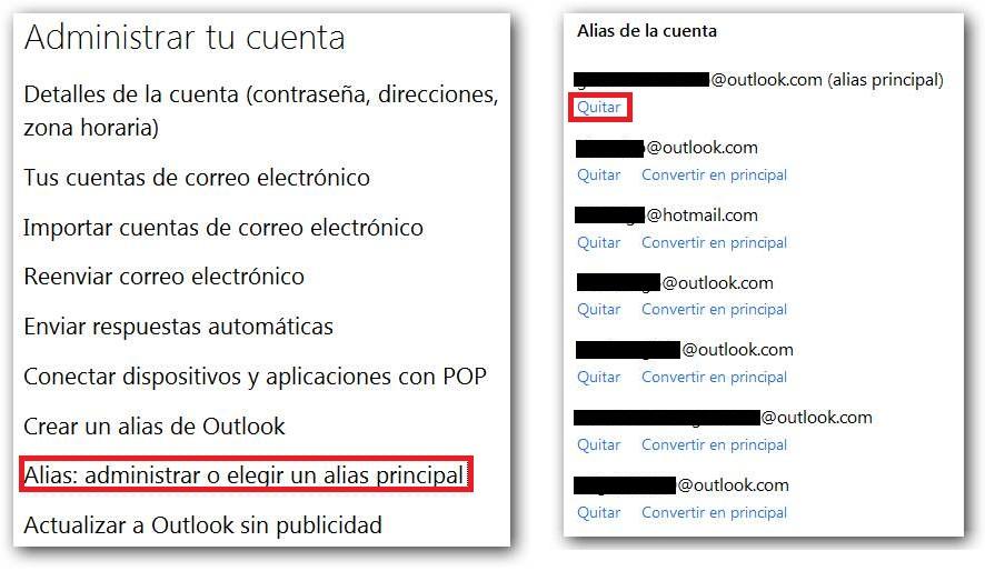 Límite de alias en Outlook