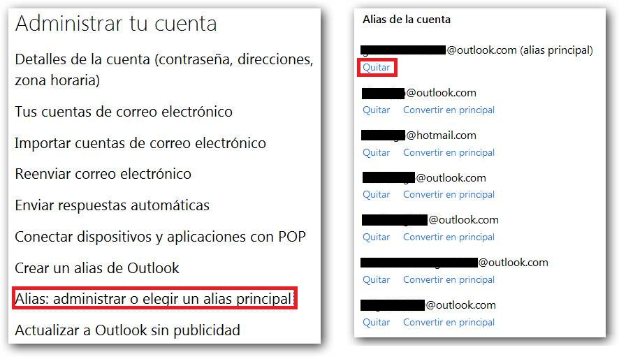 Límite de alias en Outlook