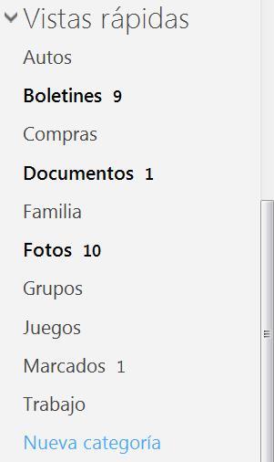 Las vistas rápidas en Outlook.com