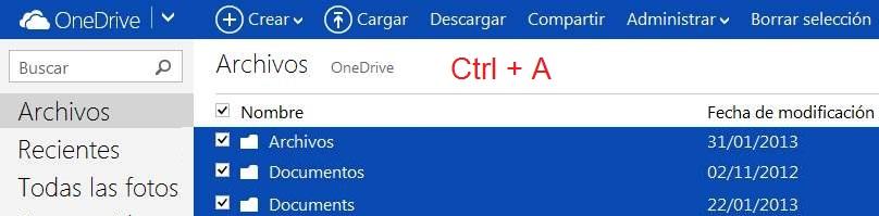 Marcar todos los archivos en OneDrive
