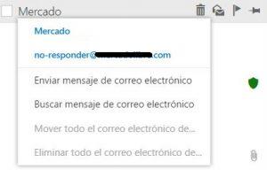Menú contextual del nuevo Outlook.com