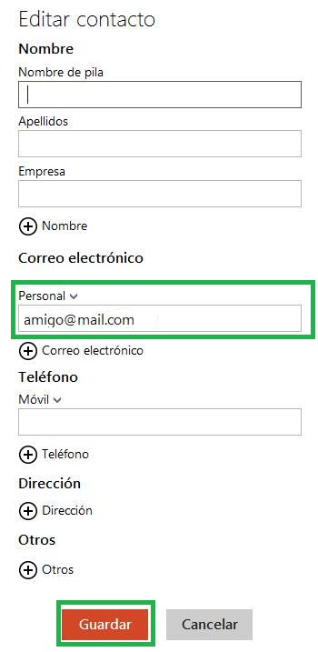 Modificar los datos de un contacto en Outlook.com