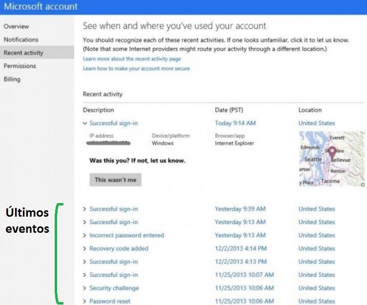 Nuevo registro de actividad de nuestra cuenta Outlook.com