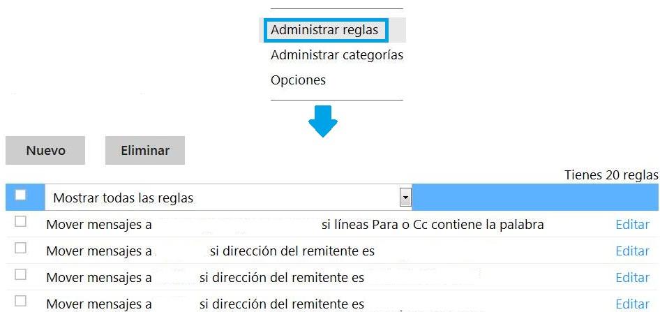 Opción para administrar las reglas de Outlook.com
