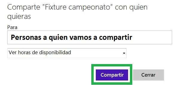 Opción para compartir calendarios en Outlook.com