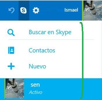 Opciones de Skype para Outlook.com