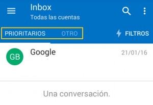 Otros correos y prioritarios en Outlook para Android