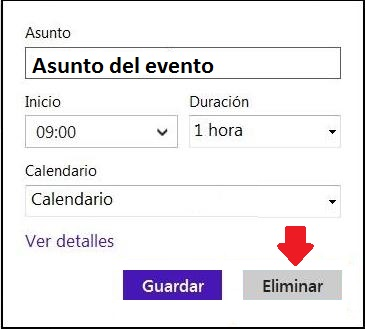 Quitar entradas del calendario de Outlook.com