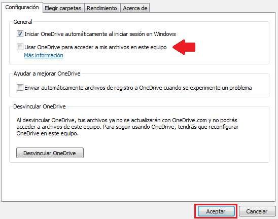 Quitar un ordenador de OneDrive