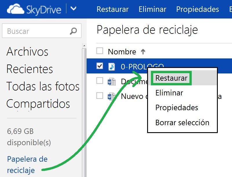 Recuperar archivos de SkyDrive