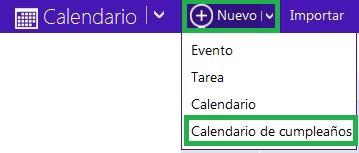 Recuperar el calendario de cumpleaños en Outlook.com