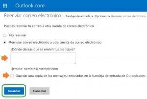 Reenviar el correo electrónico a otra cuenta