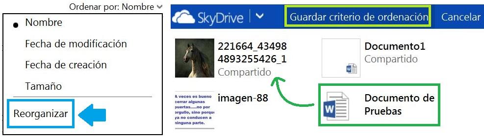Reorganizar los archivos de SkyDrive manualmente