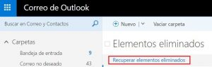 Restaurar correos en Outlook.com