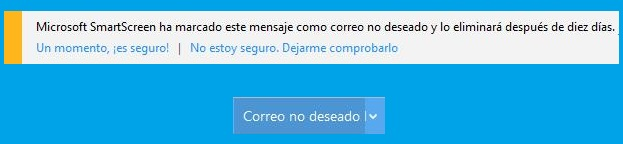 SmartScreen en Outlook.com