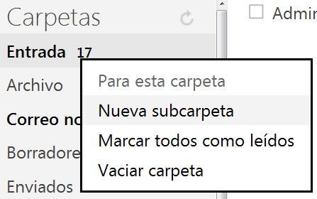 Subcarpetas en Outlook.com