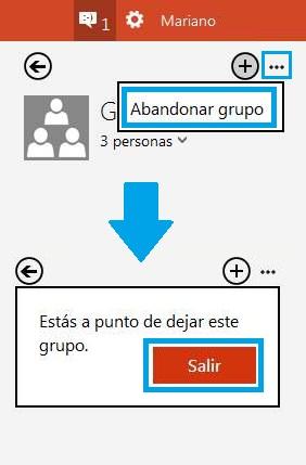 Terminar un chat de grupo en Outlook con Skype