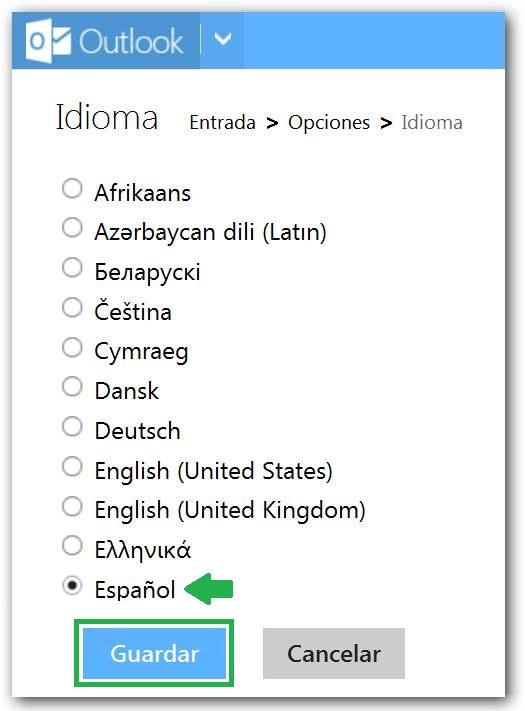 Utilizar Outlook en español