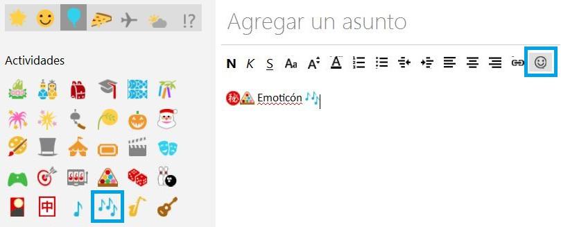 Utilizar emoticones al redactar un correo en Outlook.com