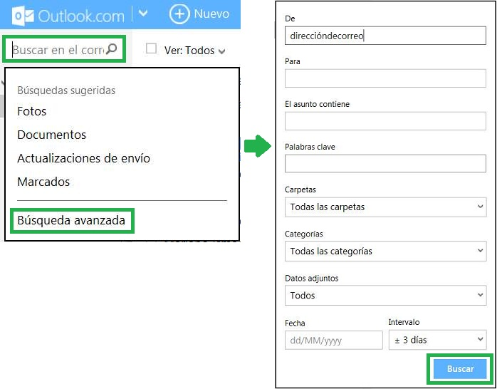 Utilizar las búsquedas avanzadas en Outlook.com