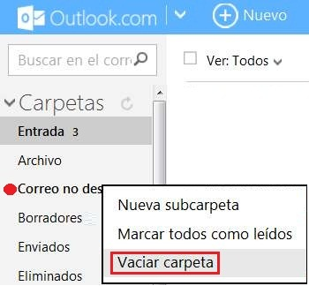 Vaciar la carpeta de spam en Outlook.com
