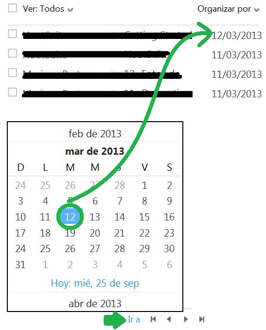 Ver los correos electrónicos de una fecha determinada