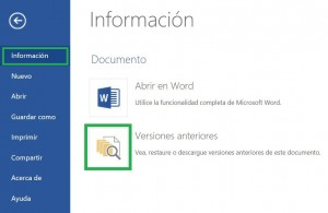 Versiones anteriores de documentos de Word
