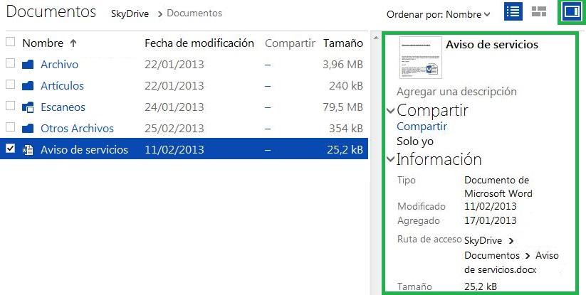 Visualizar las propiedades de los archivos de SkyDrive