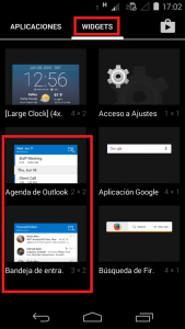 Widget de Outlook para Android