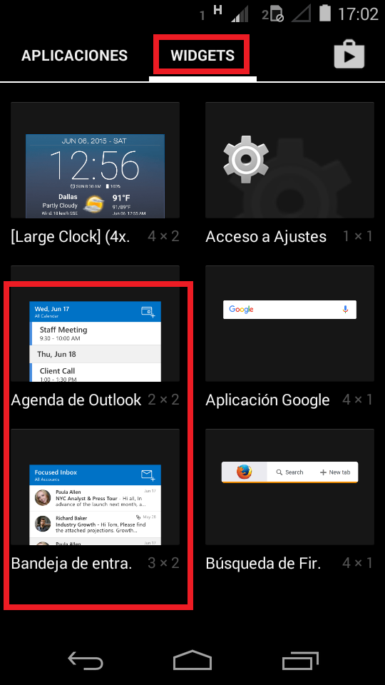 outlook widget iphone